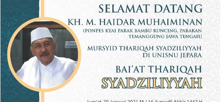Pembaiatan Pengurus dan Anggota MATAN Cabang UNISNU Jepara, dengan basis aliran Thoriqoh Syadziliyah (Thoriqoh Al Mu'tabarah An-Nahdliyyah)